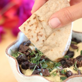 manzania olive hummus with backyard herbs