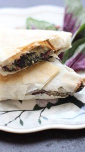 purple spinach phyllo fills