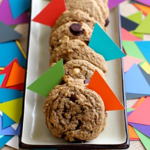 peanut butter chocolate chip gf, vegan cookies www.love-fed.com