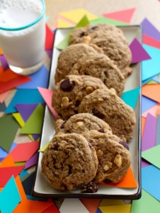 peanut butter chocolate chip gf, vegan cookies by www/love-fed.com