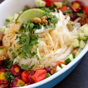 Daikon Delight Noodle Salad with Ginger Lime Dressing & Mulberries