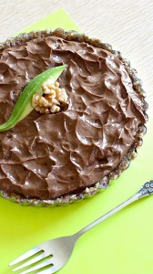 Chocolate Avocado Mousse Tart with Date Walnut Crust