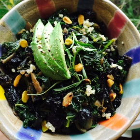 curried kale over quinoa
