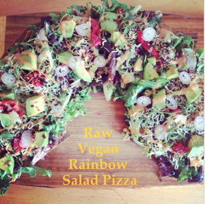 RAW VEGAN RAINBOW SALAD PIZZA