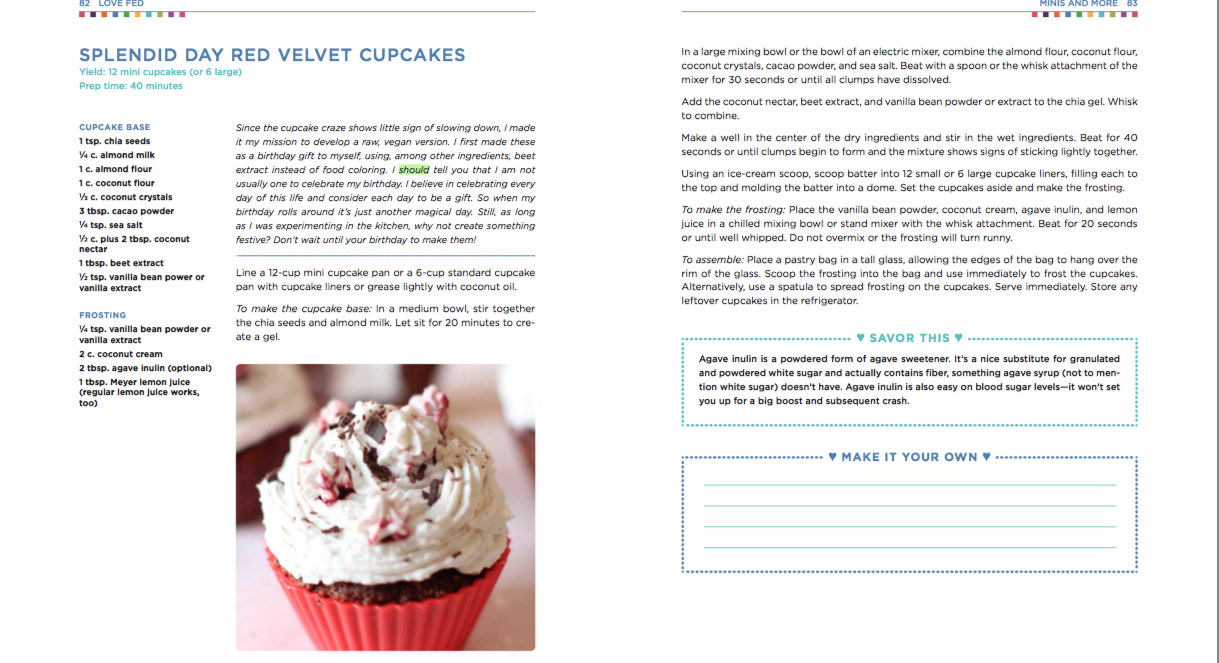 raw/vegan Red Velvet Cupcakes from  Love Fed Cookbook