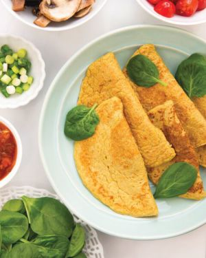 eggless omelet recipe  by dreena burton plant-powered families