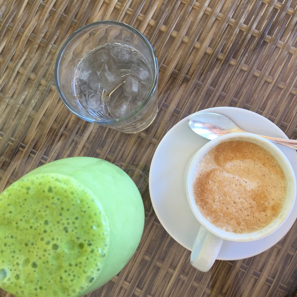 green smoothie and coffee